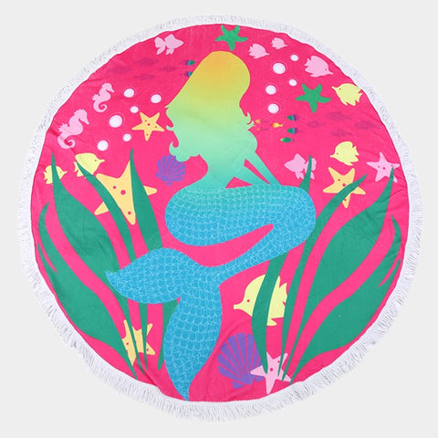 Round Beach Towel Fringe Edge Terry Underwater Mermaid Sea Life PINK