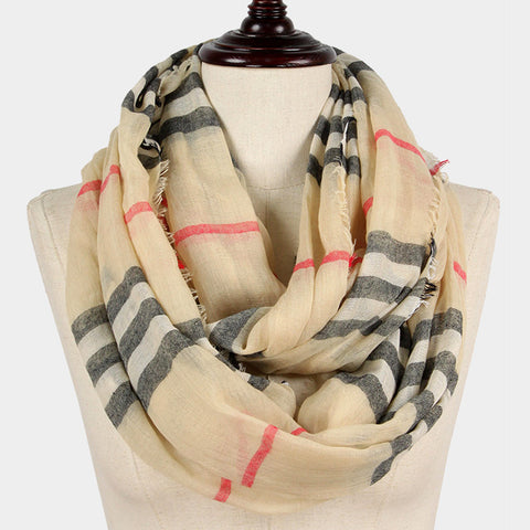 Plaid Scarf Checker Print Infinity Classic Print WrapAround BEIGE Pattern Frayed