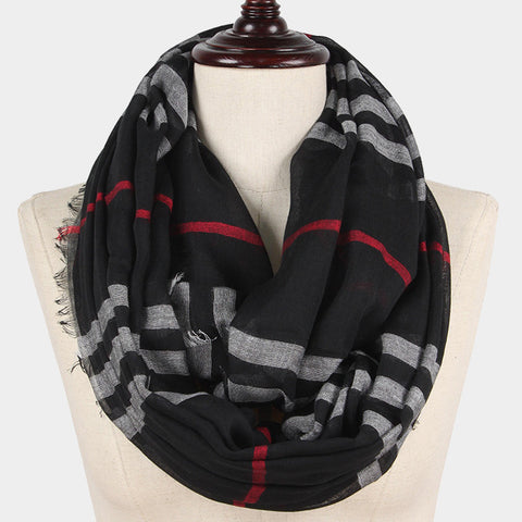 Plaid Scarf Checker Print Infinity Classic Print WrapAround BLACK Pattern Frayed