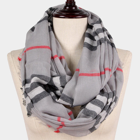 Plaid Scarf Checker Print Infinity Classic Print WrapAround GRAY Pattern Frayed