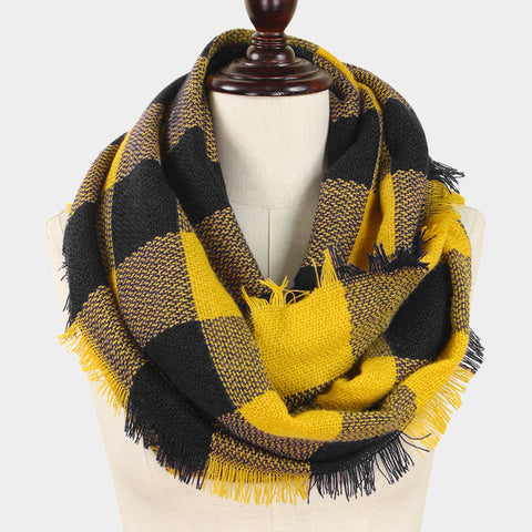 Infinity Scarf Plaid Wrap Buffalo Hunters Plaid Check Knit Soft Shawl 28BLACKGOLD