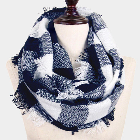 Infinity Scarf Plaid Wrap Buffalo Hunters Plaid Check Knit Soft Shawl 28BLUEWHITE