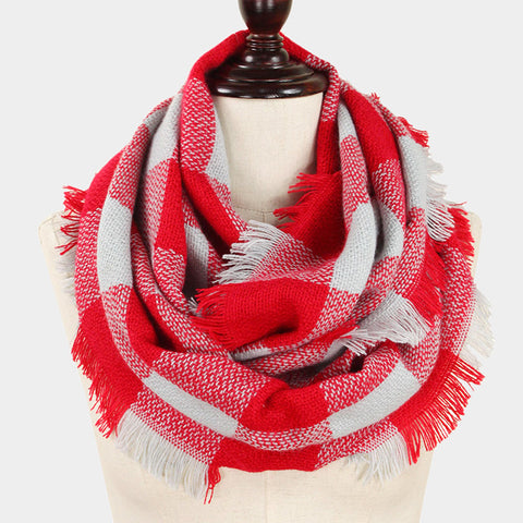Infinity Scarf Plaid Wrap Buffalo Hunters Plaid Check Knit Soft Shawl 28REDGRAY