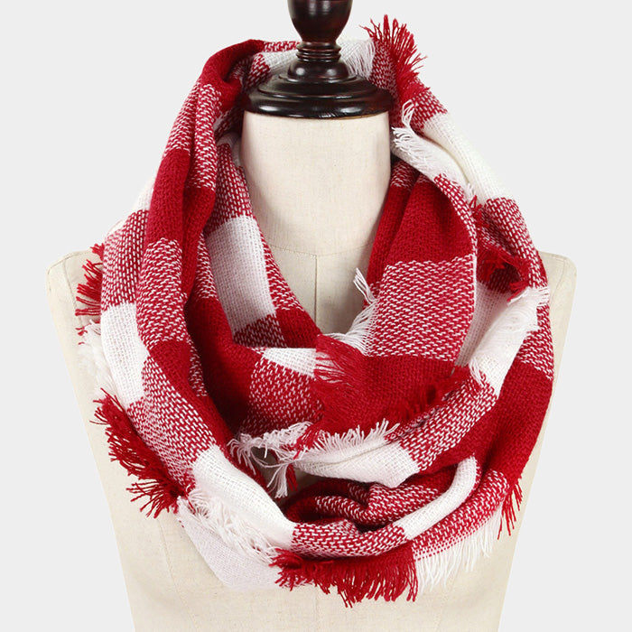 Infinity Scarf Plaid Wrap Buffalo Hunters Plaid Check Knit Soft Shawl 28REDWHITE