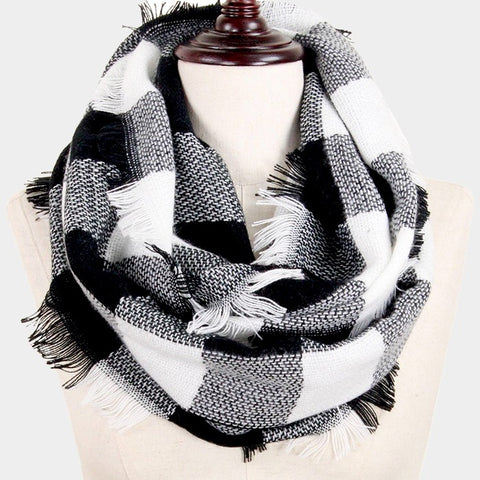 Infinity Scarf Plaid Wrap Buffalo Hunters Plaid Check Knit Soft Shawl 28BLACKWHITE