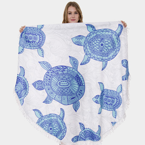 Round Beach Towel Viscose Tassel Edge Sea Turtle Printed Surf Sand Message Quote