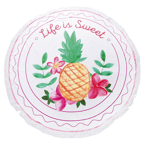 Round Beach Towel Viscose Tassel Edge Life Is Sweet Pineapple Fruit Message Quote