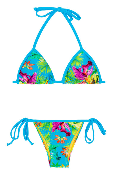 Rio de Sol Bikini TROPICAL BLUE Printed Blue Turquoise BRAZILIAN BOTTOM