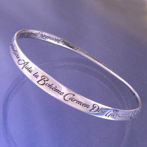 Sterling Silver Inspirational Message Bracelet Bangle A-Z of Operas Classical