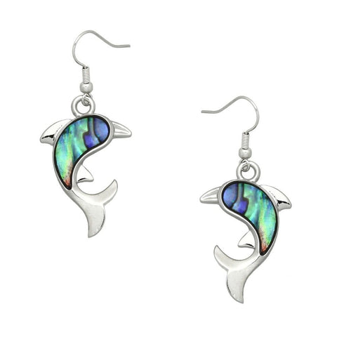 Abalone Shell Dolphin Earrings Plain Metal Silver Drop Dangle Sea Life Starfish