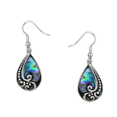Abalone Shell Earrings Teardrop Metal SILVER Drop Sea Life Beach Jewelry Style50