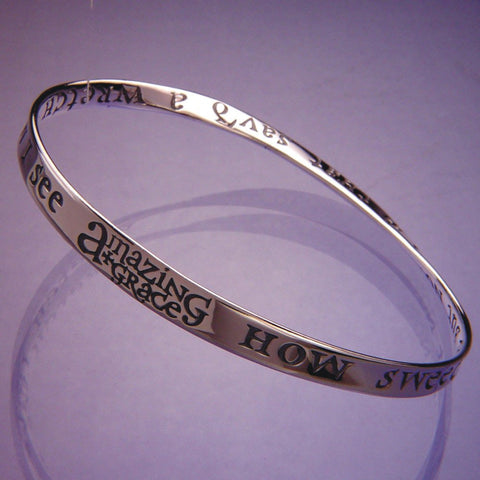 Amazing Grace Bracelet Bangle Inspiration Religious STERLING SILVER Sweet Sound