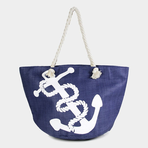 Beach Bag Printed ANCHOR Sea Shell Nautical Starfish Sea Life Canvas BLUE