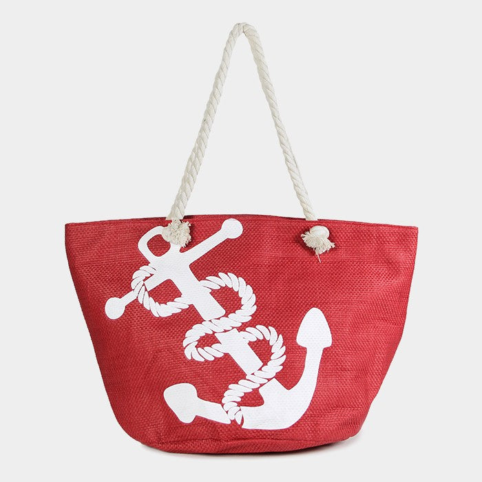 Beach Bag Printed ANCHOR Sea Shell Nautical Starfish Sea Life Canvas RED