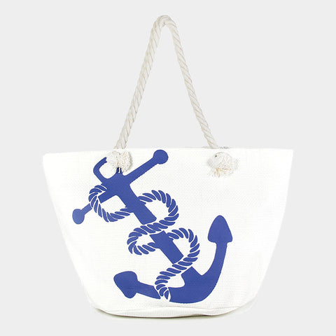 Beach Bag Printed ANCHOR Sea Shell Nautical Starfish Sea Life Canvas WHITE