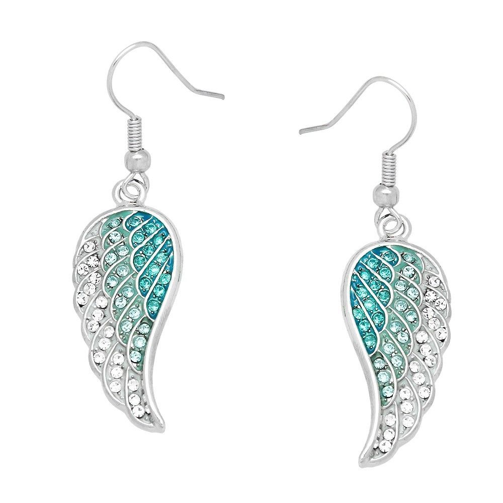 Angel Wing Earrings Pave Rhinestone SILVER AQUA Drop Dangle Faith Hope Jewelry