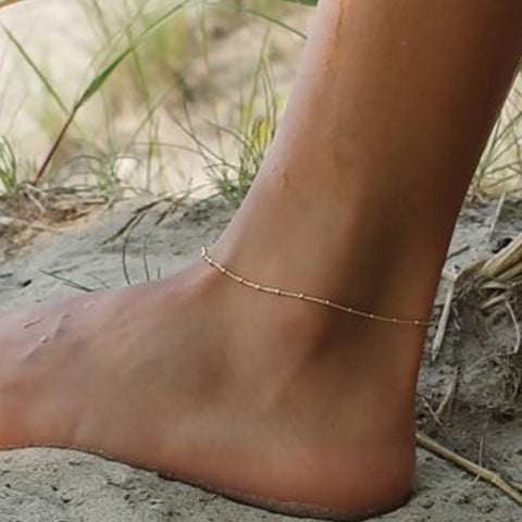 Ankle Bracelet Beaded Anklet Plain Simple Metal Chain