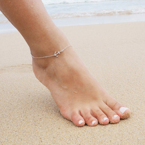 Ankle Bracelet Anchor Charm Anklet Thin Delicate Chain Link Silver Gold