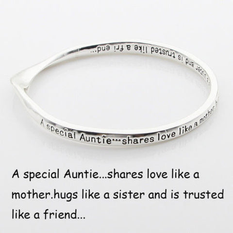 A Special Auntie Shares Love Like Bracelet Mobius Bangle Engraved Message Mother