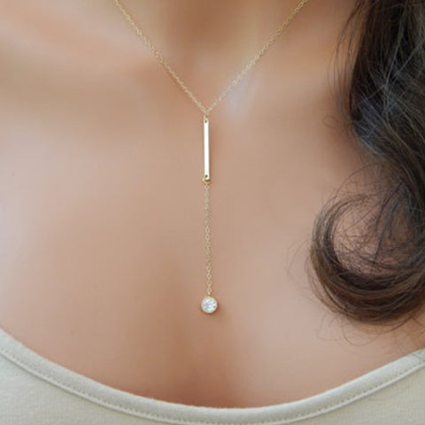 Lariat Necklace Choker Thin Chain Delicate Bar Tiny Crystal Y Drop Silver Gold