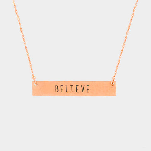 Believe Necklace Inspirational Quote Message Rose Inspiration Metal Bar Gift