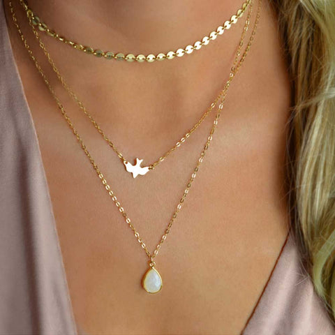 Lariat Necklace Choker Thin Chain Choker Bird Coin Teardrop Y Drop Silver Gold