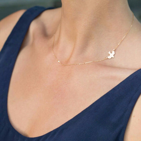 Lariat Necklace Choker Thin Chain Tiny Bird Charm Pendant Y Drop Silver Gold