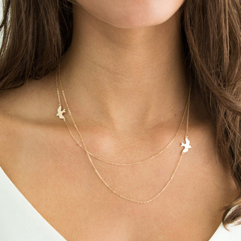 Lariat Necklace Choker Layered Thin Chain Tiny Bird Charm Y Drop Silver Gold