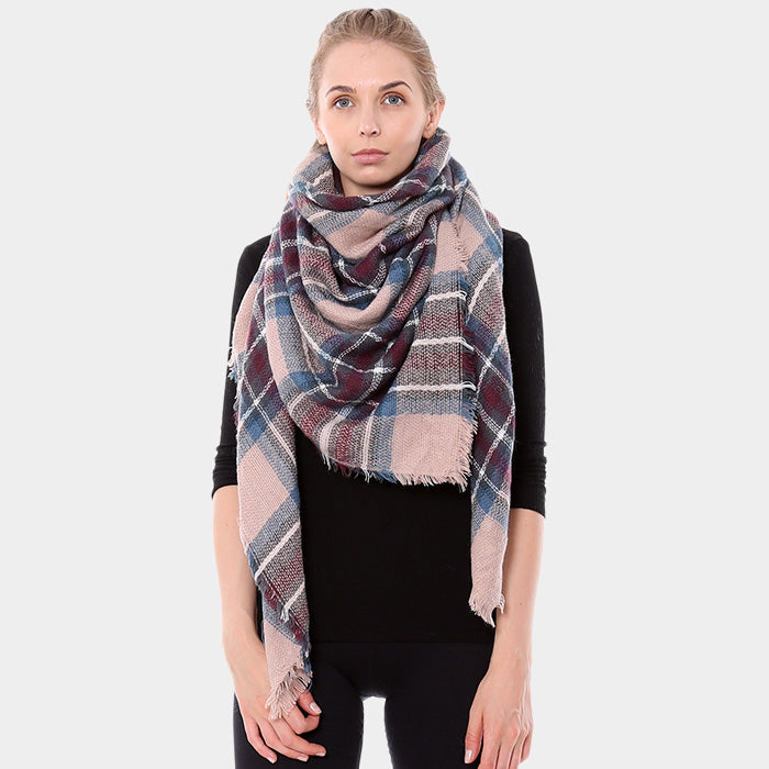 Blanket Scarf Plaid Soft Fabric Shawl Pashmina Wrap Around Plaid PINK
