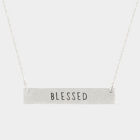 Blessed Necklace Inspirational Message Metal Bar Religious Faith Love SILVER