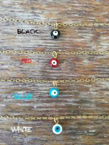 Evil Eye Necklace Choker Thin Chain Simple Delicate Dainty Charm Hamsa Gold Red