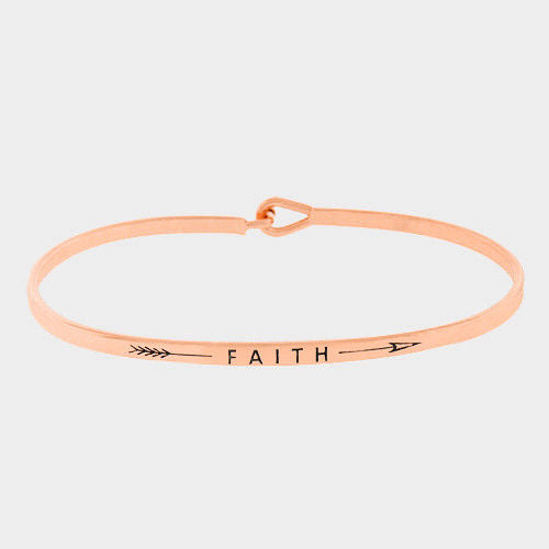 Message Bracelet Faith Inspire Love Metal GOLD Personal Engrave Jewelry