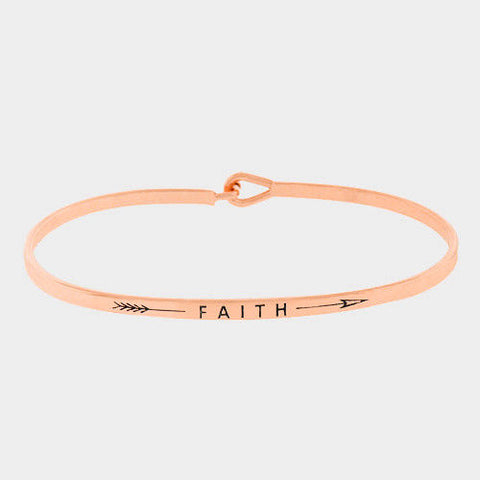 Arrow Message Bracelet Inspirational Thin Hook Bangle FAITH Feather ROSE