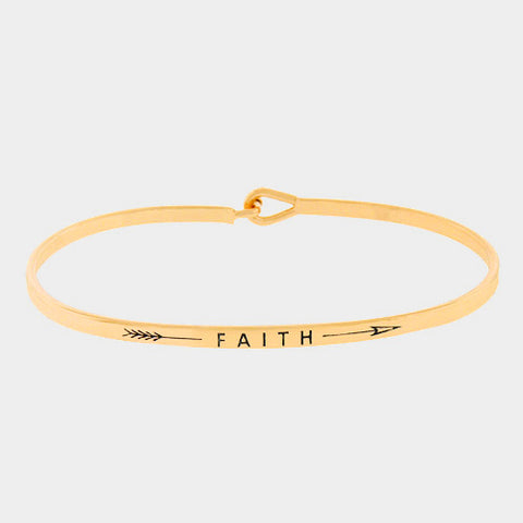 Arrow Message Bracelet Inspirational Thin Hook Bangle FAITH Feather GOLD Gift