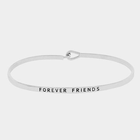 Message Bracelet Forever Friends Inspire Quote Metal Friendship BFF Best Silver