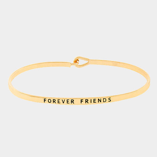 Forever Friends Bracelet Message Inspire Quote Metal Bangle Hook Engraved GOLD