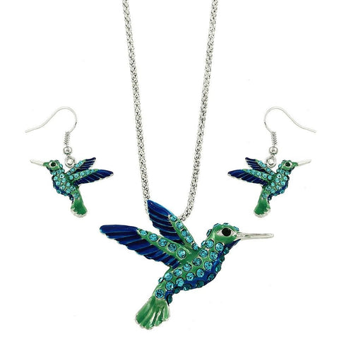 Hummingbird Necklace Earrings Set Pave Rhinestone Blue Green SILVER Jewelry