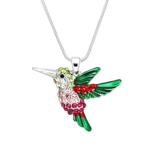 Hummingbird Necklace Charm Pave Rhinestone Fly Red Pink 34mm SILVER Jewelry
