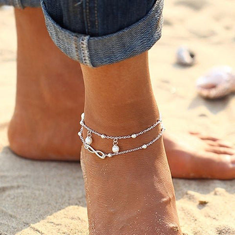 Ankle Bracelet Infinity Anklet Thin Beaded Metal Double Strand