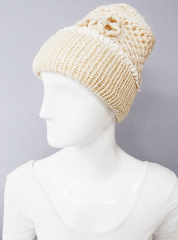 womens crochet hat wood buttons