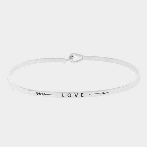 Arrow Message Bracelet Inspirational Thin Hook Bangle LOVE Feather SILVER Gift