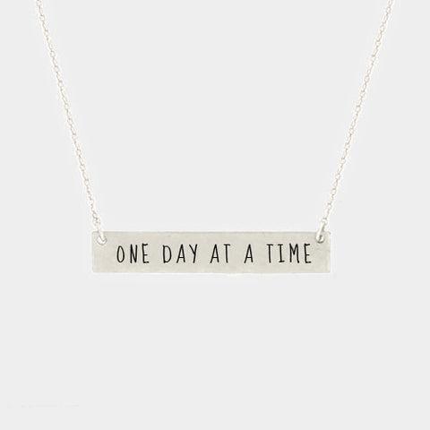 one day at a time Necklace Serenity SILVER Inspiration Metal Bar Gift Prayer AA