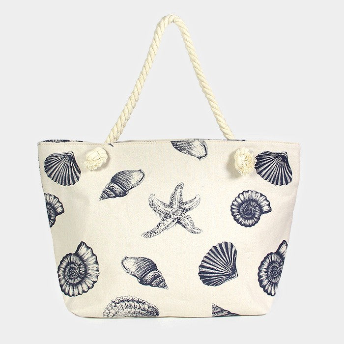Beach Bag Printed Sea Shell Conch Starfish Sea Life Canvas BLUE