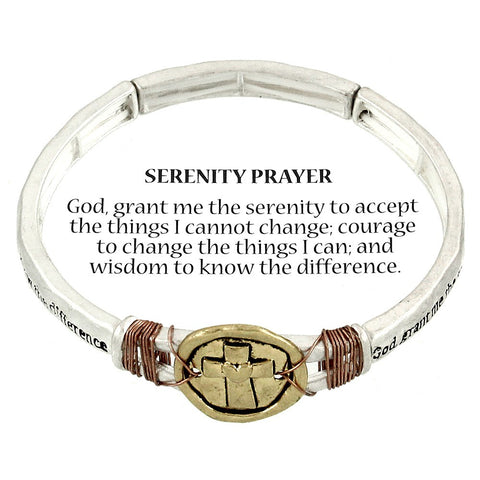 Serenity Prayer Bracelet Stretch SILVER 2Tone Faith Charm Cross Inspirational AA