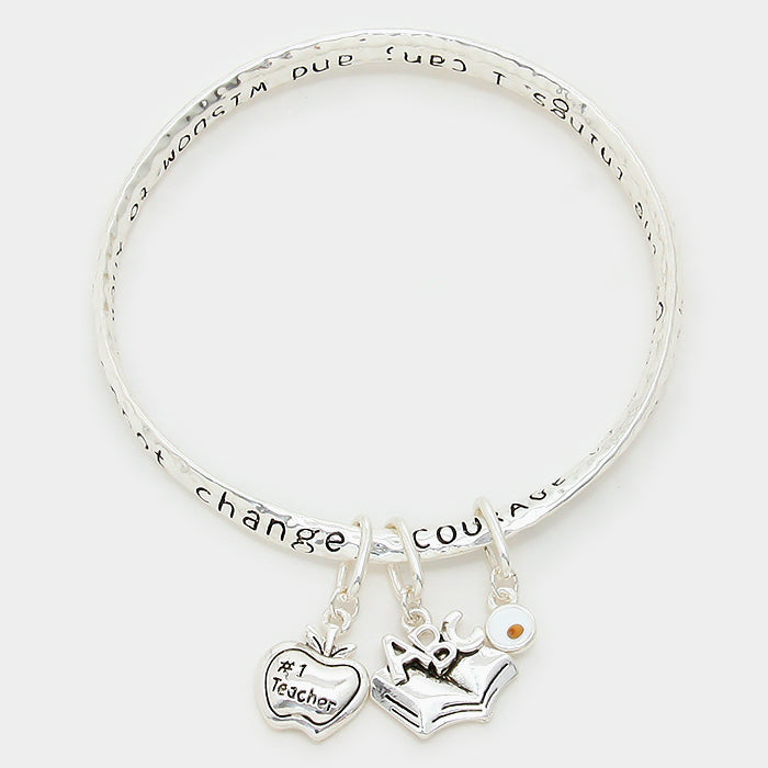 Teacher Serenity Prayer Bracelet Bangle Apple Book Charms SILVER God Grant Me