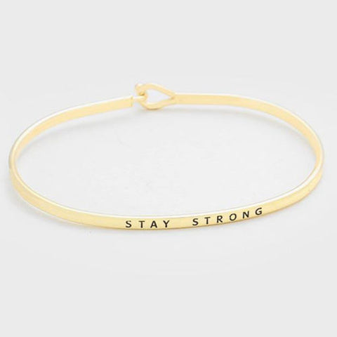 Message Bracelet Stay Strong Thin Metal GOLD Personal Engrave Quote Jewelry