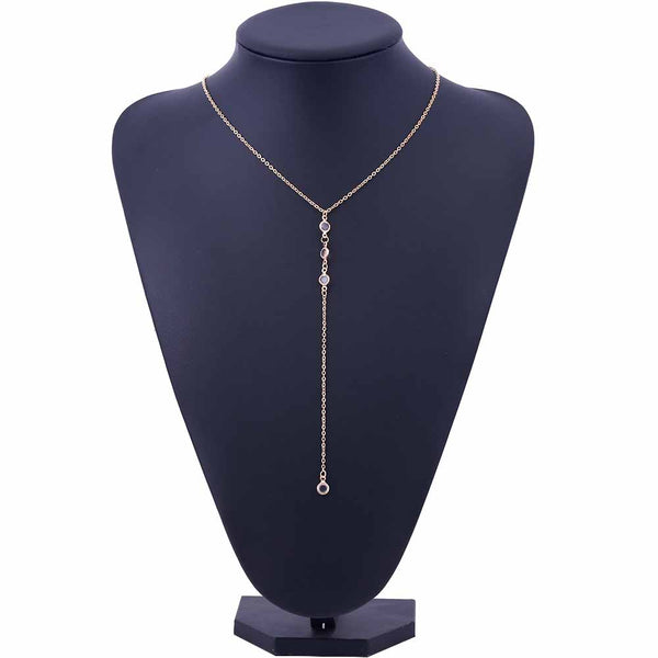 Lariat Necklace Thin Delicate Dainty Chain Y Drop Crystal Rhinestones Silver Gold