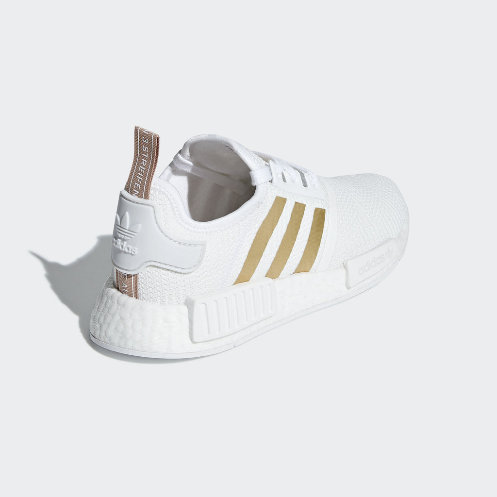 7a7ecb099 ... Adidas NMD R1 Cloud White Gold Stripes Women s - Pimp Kicks ...