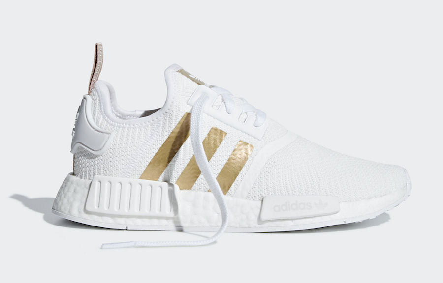 3769ab367132 ... Adidas NMD R1 Cloud White Gold Stripes Women s - Pimp Kicks ...