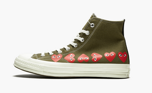 Converse Chuck Taylor All-Star High 70s X CDG Multi Hearts Olive Men's